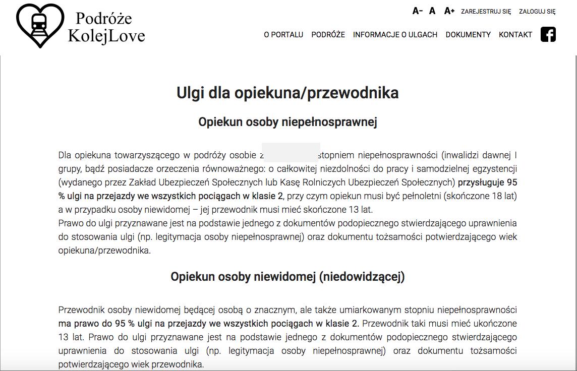 Podgląd portalu www.podrozekolejowe.pl